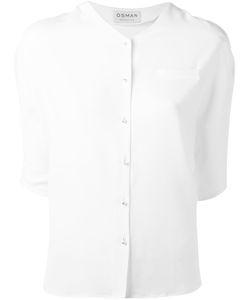 Osman | V-Neck Button Blouse 8 Acetate/Silk