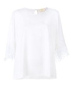 Sara Battaglia | Lace Sleeve Trim Top