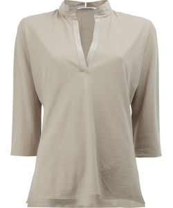Lamberto Losani   V-Neck Cropped Sleeve Blouse Size Small