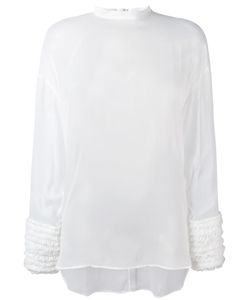 Cédric Charlier | Gathered Cuffs Sheer Blouse Size 42