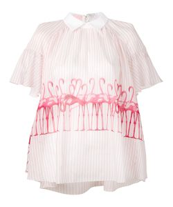 Giamba | Striped Flamingo Blouse Size
