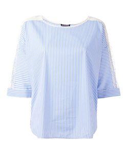 Twin-Set   Striped Lace Trim Blouse Size 42