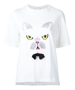 Muveil | Cat Embroidery T-Shirt 36 Cotton