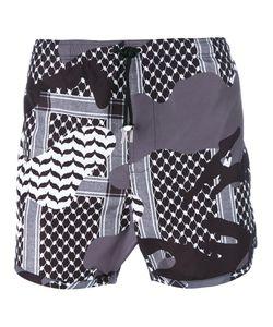 Neil Barrett | Kefiah Camouflage Print Swim Shorts Size Xl