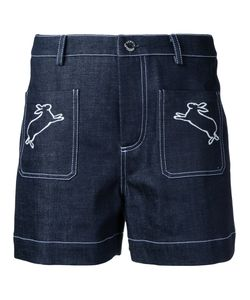 Markus Lupfer | Rabbits Embroidered Denim Shorts Size Small