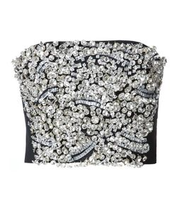 Vera Wang | Embellished Strapless Top 10 Wool/Glass/Plastic