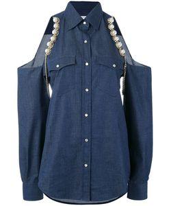 Forte Couture   Open Shoulder Denim Shirt