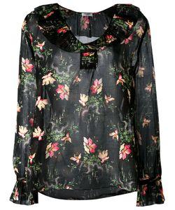 Vilshenko   Pleated Collar Blouse 10 Cotton/Silk