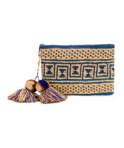 Yosuzi | Canvas Woven Pouch With Pompom Tassels Women
