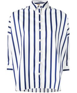 Fay | Cropped Sleeve Striped Shirt Size Small