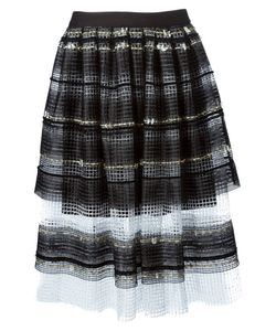 Natargeorgiou | Striped A-Line Net Skirt