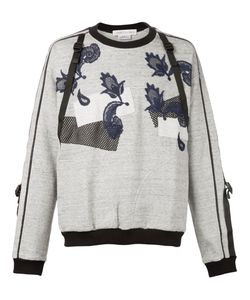 James Long | Mesh And Lace Appliqué Buckled Sweatshirt
