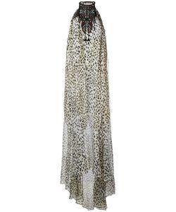 Roberto Cavalli   Printed Beaded Neck Gown Size