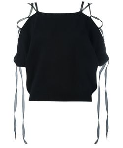 Valentino   Lace-Up Knitted Top Medium Cashmere/Silk