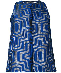 Cacharel | Sheer Geometric Pattern Shirt 40 Silk/Polyester/Nylon