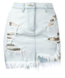 Versus   Distressed Mesh Insert Denim Skirt Size 42