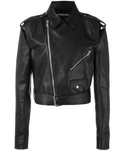 Y / Project | Cut-Out Detail Cropped Biker Jacket