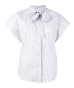 Mm6 Maison Margiela | Micro-Stripe Cap Sleeve Bow Shirt Size 40
