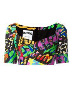 Moschino | Logo Print Cropped Top 40 Silk/Rayon