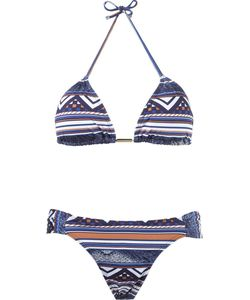 Brigitte | Geometric Print Triangle Top Bikini Set