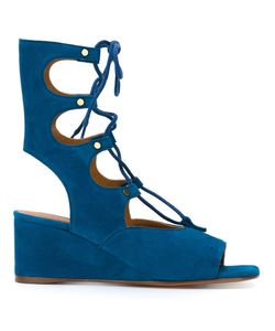 Chloé | Foster Wedged Lace Up Sandals 37.5 Calf