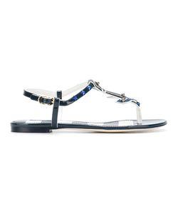 Dolce & Gabbana | Nautical Flat Sandals 36.5 Leather/Patent