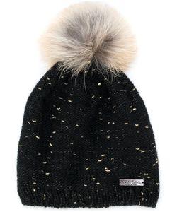 Norton   Racoon Fur Pom Pom Flecked Hat