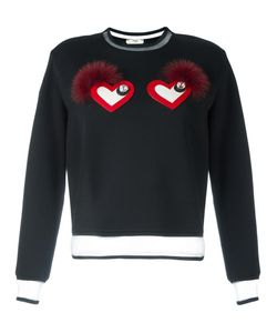 Fendi   Heart Eyes Sweatshirt 38 Silk/Cotton/Fox Fur/Glass