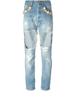 Forte Couture | Embellished Ripped Jeans 26 Cotton