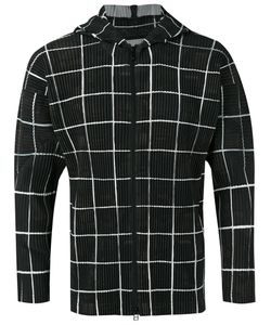 Homme Pliss Issey Miyake | Checked Ribbed Zipped Hoodie