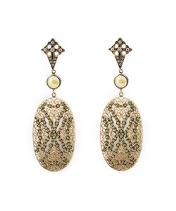 Loree Rodkin | Lace Maltese Cross Drop Diamond Earrings
