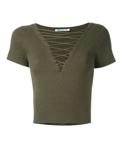 T by Alexander Wang   Lace-Up Ribbed Top