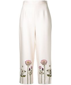 Vilshenko   Embroidered Flower Cropped Trousers Size 8