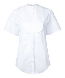 Courrèges   Short Sleeve Collarless Bib Shirt