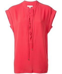 Michael Michael Kors   Lace-Up Neck T-Shirt Large Polyester/Spandex/Elastane