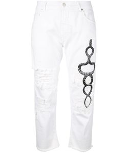 Marcelo Burlon County Of Milan | Cropped Ripped Printed Snake Jeans