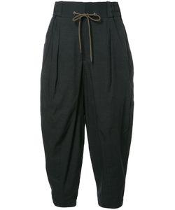 Devoa | Drawstring Striped Pants 5 Polyester/Cotton/Wool