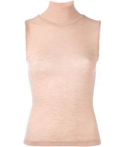 T by Alexander Wang | Sheer Ribbed Sleeveless Turtleneck