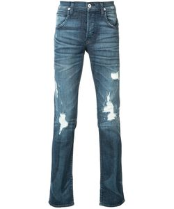 Hudson   Ripped Slim-Fit Jeans 34 Cotton/Polyester/Spandex/Elastane