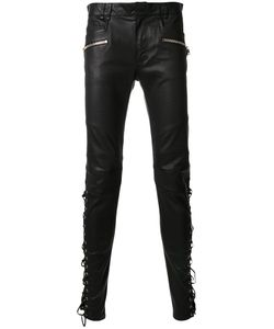 Balmain | Lace-Up Leather Trousers