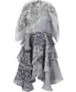 Christian Siriano | Marbled Ruffled Dress 6 Silk