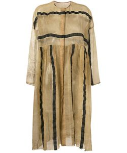 Uma Wang | Striped Sheer Collarless Coat