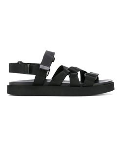 MSGM | Strapped Sandals Size 43 Leather/Polyester/Styrene-Butadiene Rubber Sbr