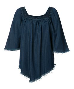 NSF | Fringed Denim Blouse Xs Cotton