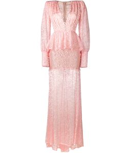 Alessandra Rich | Sheer Lace Long Sleeve Dress