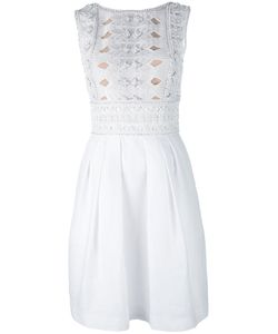 Alberta Ferretti   Sleeveless Embellished Lattice Dress Silk/Cotton/Acetate/Other