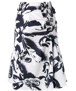 Cédric Charlier | Abstract Print Midi Skirt Size 42 Cotton/Other