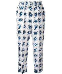 Kiton   Paisley Print Cropped Trousers 46 Silk