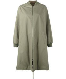 Army Yves Salomon | Reversible Long Bombercoat Cotton/Rabbit