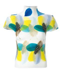 Issey Miyake Cauliflower   Feather-Print Knitted Top